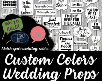 Custom Wedding Photo Booth Prop Signs and Decorations - Choose your Own Colors Wedding Photobooth Prop Printables - Over 50 Images