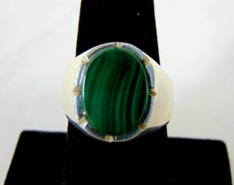 Mens Sterling Silver Ring w/ Malachite 16.2g E897