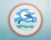 Animal Cross Stitch • Modern Dolphin Cross Stitch Pattern • Nautical Hoop Art • Easy Counted Cross Stitch PDF •  Ocean XStitch Pattern
