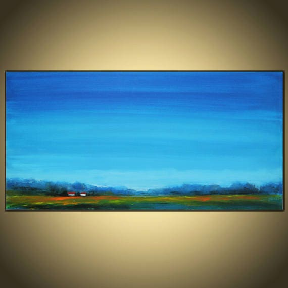 Large 24 x 48 inches Abstract Landscape Painting Original  Oil and Acrylic  on canvas,Blue greenYellow
