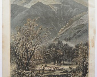 Langdale Pikes Lake District by WH Boot  Antique Print Engraving 1884