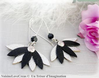 Water lilies and black leather Silver earrings