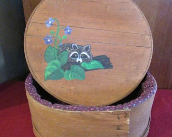 Racoon painted Cheese box