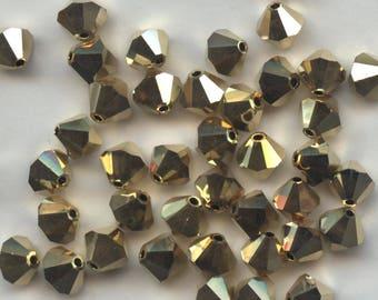 T6 5301  DD *** 15 bicone beads crystal Swarovski 6mm CRYSTAL AURUM 2x