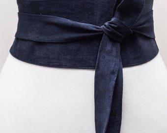 Navy Suede Obi Belt | Leather wrap Belt | Waist tie belt | Navy Suede Leather Obi Belt | Plus Sizes | Ready to Ship