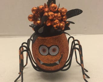 Small Halloween spider floral decoration orange and black glitter