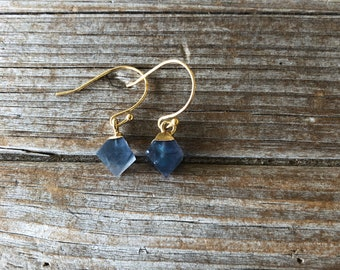 Fluorite Earrings, Stone earrings, Drop Earrings, Geometric earrings, Gold Earrings, Gifts for her