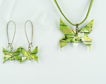 Origami paper, butterfly pendant and earrings set
