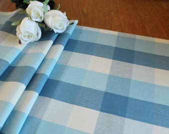 Summer Table runner in sea/sky blues and cream yarn dyed woven cotton