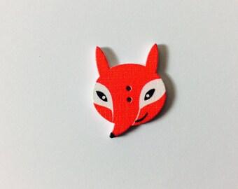 6 Fox 3 cm * 2, 3cm wooden buttons