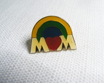 Deadstock - Never Worn - Vintage 80s - Mom - Heart and Rainbow - Cute / Kawaii Enamel Pin / Button / Pinback
