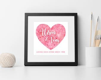 Personalised heart print - Valentines - Anniversary