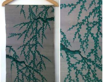 Vintage Meisen Kimono Silk Grey Green Branches