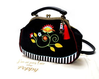 bag retro leather and black velvet embroidered shoulder * custom