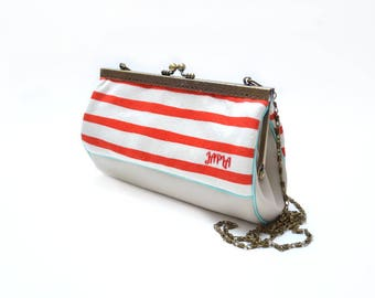 retro clutch shoulder removable spirit sailor red and ivory striped jersey