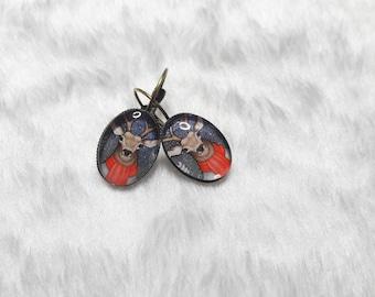 Winter reindeer oval earrings