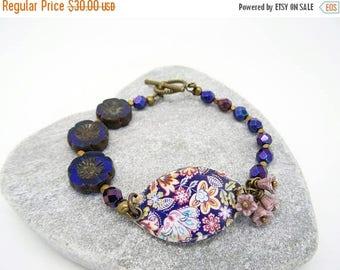 On Sale Ceramic Bracelet, Bar Bracelet, Floral Bracelet, Pansy Flower Bracelet, Cobalt Blue Bracelet, Dusky Pink Bracelet, Boho Bracelet.