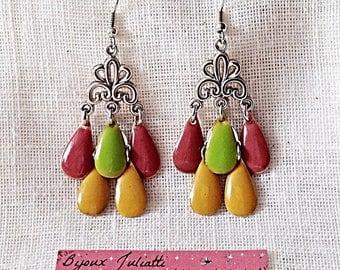 Bohemian earrings yellow, Pink salmon and green
