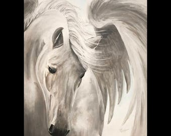 Pegasus Original Canvas Art // One Of A Kind Original // Tony Rector // 12 x 15 Acrylic Painting // Untamed, Winged Horse Original Art