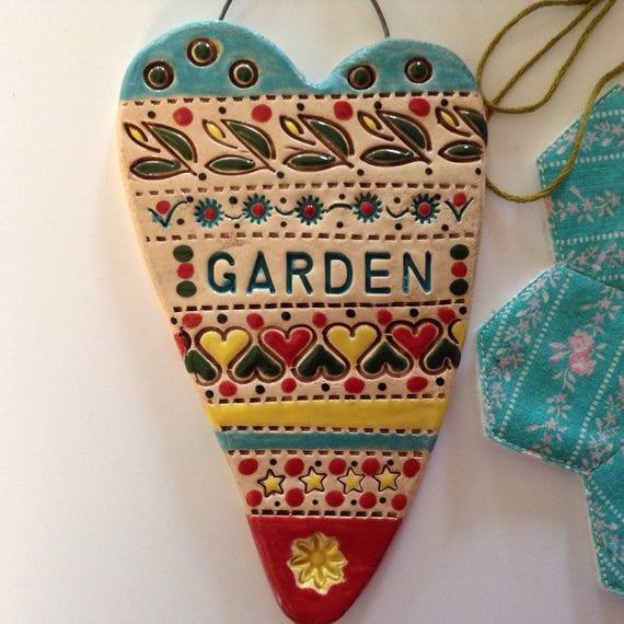 Handmade Ceramic Hanging heart, pattern, colour, folk art, home, garden, create, craft, stitch, knit, quilt, crochet