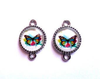 "2 connectors silver striated edges, cabochon 12 mm domed glass ""multicolor Butterfly"", blank"