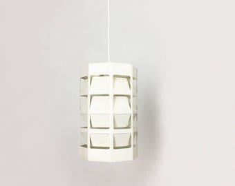 Scandinavian hanging lamp in white metal by LOUIS POULSEN - 1960s - Jakobsson hammerborg era   midcentury modern STILNOVO   danish modern