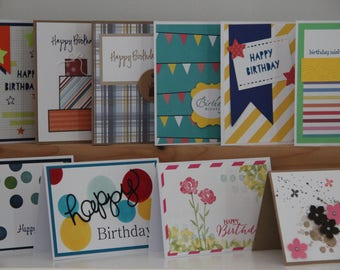 10 Birthday Cards. Handmade Birthday Card Set. Birthday Card Assortment. Happy Birthday Greeting Cards. Blank Birthday Cards. Unisex Cards