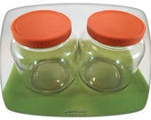 Glass Food Storage Jars pair set 70s Vintage Kitchen Orange Plastic Lids Canisters Containers Cookies Treats Pet Retro Seventies Pantry