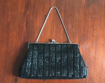 1960s Vintage Beaded Evening Purse Bag Graduated Grey Black Beads - Harrods Le Soir