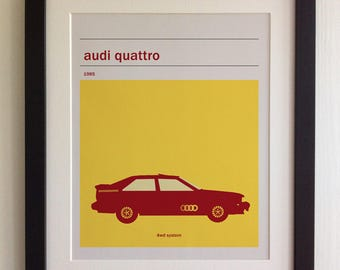 FRAMED Audi Quattro Print - Black/White Frame, Birthday, Anniversary, Father's Day, Christmas, Fab Picture Gift