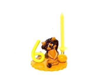 Candle birthday yellow lion boy 6 years