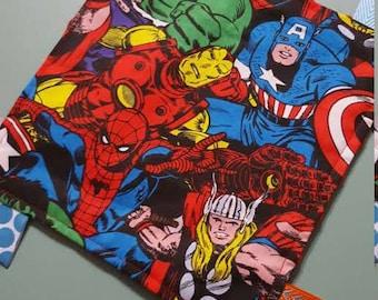 Avengers Minky Ribbon Tag Sensory Toy / Crinkle / Lovey Blanket / Handmade Baby Boy Shower Gift / Marvel Superhero Comic Book Hulk Thor