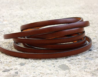 Leather camel flat 5 mm by 50 cm strap