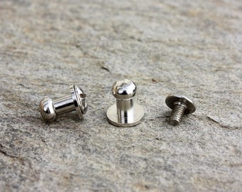 Button 6 mm screw clasp silver professional quality