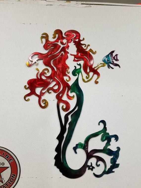 Mermaid Metal Wall Art, Aluminum Mermaid, Metal Mermaid, Fish Metal Art, Ocean Metal Art, Beach House Decor, Mystical Wall Art, Fantasy Art