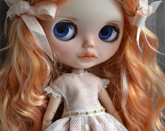 Handmade cotton dress  and shoes for Blythe and Pullip outfit
