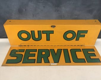 Out of Service Metal Folding Sign - Vintage Bus Sign - Prop - Display - Repurpose Sign - Transportation Collectible  - School Bus