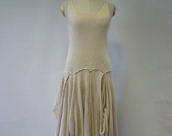 Special price. Handmade Summer vanilla dress, M size. Made of bamboo and linen.