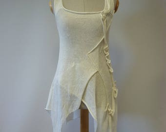 Summer off-white asymmetrical linen top, S size.