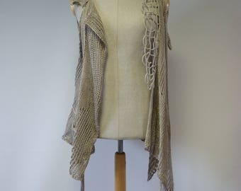 Sale. Boho asymmetrical  artsy taupe knitted vest, L size. Made of pure linen