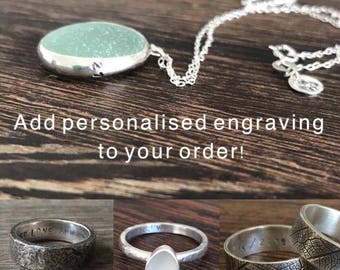 Engraved ring, ring engraving, personalised ring, customised ring, hidden message ring, personalised pendant, engraved necklace, 21st gift