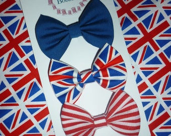 UK hair bow set - mini fabric bows on alligator clips - union jack hair bows - girls hairbows - British gift - English hair accessories
