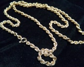 Vintage 9k Yellow Gold Twisted Link Rope Chain - Long Gold Necklace  - Perfect gift for Valentine's Day - Birthday - Anniversary