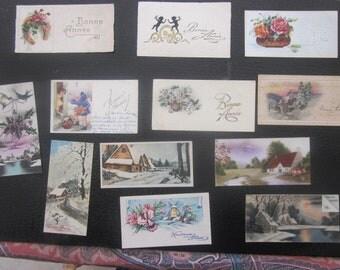 Vintage lot de 95 Superbes Cartes Postales Fantaisie de France écrites au verso,ayant voyagé-Chromo-avec Points Brillants-Gaufrées à système