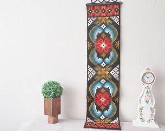Long Vintage Ornamented Vintage Swedish Folk Art Embroidered Wall Decor Hanging Scandinavian Handmade Vintage Decor #3-16