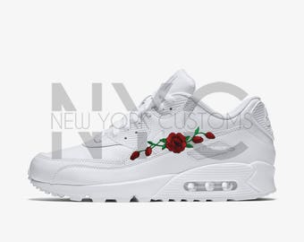 Red Rose Vine Nike Air Max 90 White Men Kids