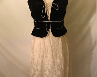 Gorgeous 1970's White Lace Dress with Black Velvet Bodice