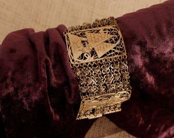 Vintage Egyptian Bracelet,  Filigree Bracelet, Egyptian Jewelry,  Ethnic Jewelry, Wide Panel, Ethnic Adornment, Cuff Bracelet, Gypsy jewelry