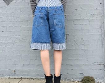 vintage 90s streetwear hip hop sagwear denim jean high waist layered shorts railroad stripe size xsmall