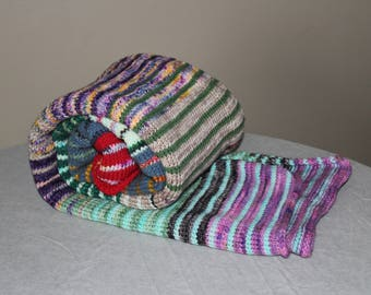 Stripe It Up Lap Blanket - Multicolored Chunky Knit Warm Soft Merino Wool Cozy OOAK Afghan Cover Accent Throw